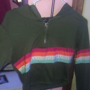A green crop hoodie